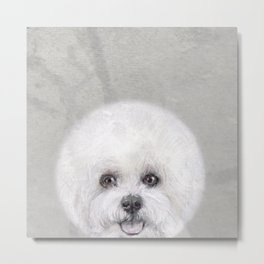 Bichon illustration, Dog illustration original painting print Metal Print