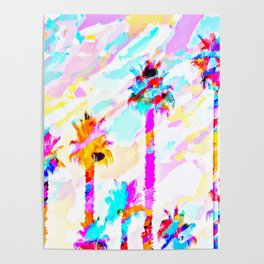 palm tree with colorful painting texture abstract background in pink blue yellow red Poster