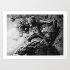 groot and rocket Art Print