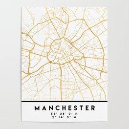 MANCHESTER ENGLAND CITY STREET MAP ART Poster