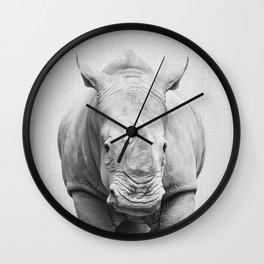 Rhino 2 - Black & White Wall Clock