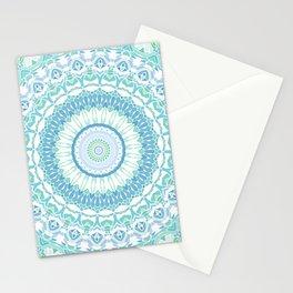 Blue, Green and White Mandala 02 Stationery Cards