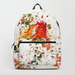 Fire watercolor rooster Backpack