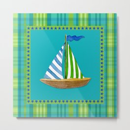 Nautical Sailboat Beach Blue Star Little Boy Plaid  Metal Print