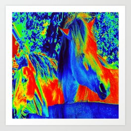 Horses fantasy Colors Art Print