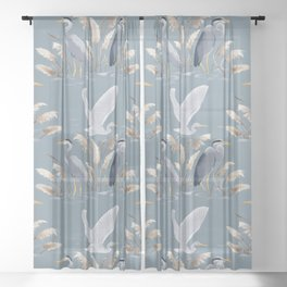 Great Blue Heron - Blue and Gray Sheer Curtain