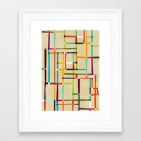 mondrian Framed Art Prints featuring The map (after Mondrian) by Picomodi