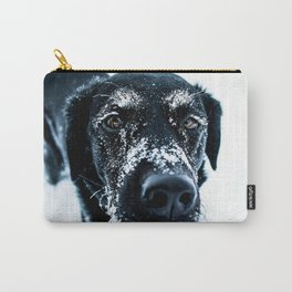 Snow Dog // Cross Country Skiing Black and White Animal Photography Winter Puppy Ice Fur Carry-All Pouch