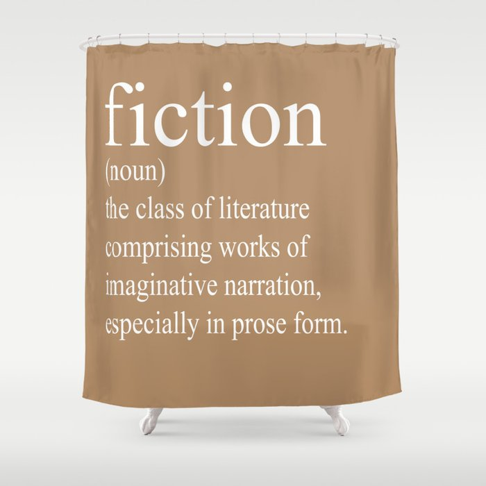 Fiction Definition White On Tan Shower Curtain