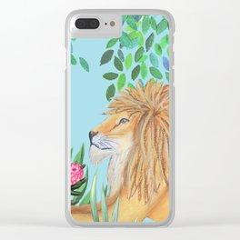 lion, jungle tropical rain forest zen botanical Clear iPhone Case