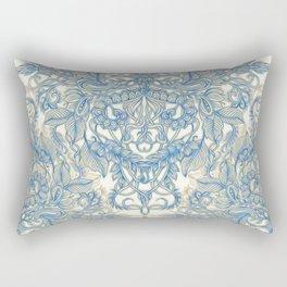 Blue & Tan Art Nouveau Pattern Rectangular Pillow