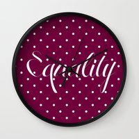 equality Wall Clocks featuring Equality by Pia Spieler