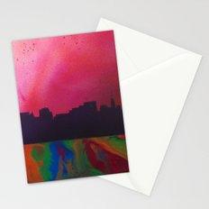 Neon Skyline Stationery Cards