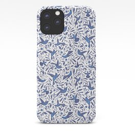 Delft Blue Humming Birds & Leaves Pattern iPhone Case
