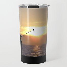 Playing Golf At Sunset Travel Mug