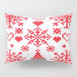 Christmas Cross Stitch Embroidery Sampler Red And White Pillow Sham