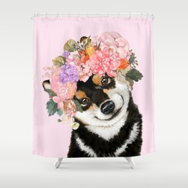 Black Shiba Inu with Flower Crown Pink Shower Curtain