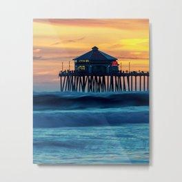 Ruby's Sunset on the Huntington Beach Pier ~ Surf City USA Metal Print