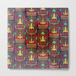 Tiki tribal mask pattern. Metal Print