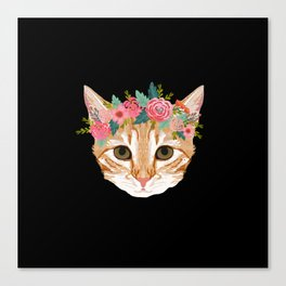 Orange Tabby cat breed with floral crown cute cat gifts cat lady must haves Canvas Print