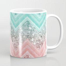 Summer Vibes Glitter Chevron #1 #coral #mint #shiny #decor #art #society6 Coffee Mug