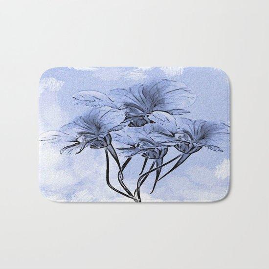 Painterly Blue Floral Bath Mat