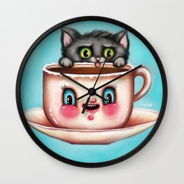 Creepy Coffee Cup & Cute Kittie Wall Clock