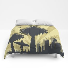 Sunny beach with palm surfer in Hawaii Comforters