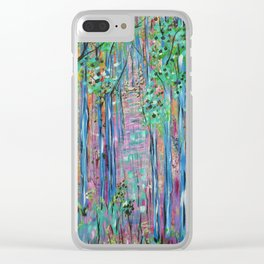 Teal Blue Abstract Forest Landscape, Forest Secrets, Fantasy Fairy Art Clear iPhone Case