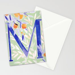 Monogram letter M Citrus Grove Initial Watercolor Stationery Cards