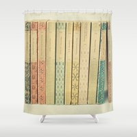 clockwork orange Shower Curtains featuring Old Books by Cassia Beck