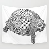 tortoise Wall Tapestries featuring Tangled Tortoise by Cherry Creative Designs
