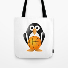 Funny penguin with a basketball ball Tote Bag