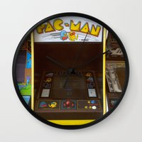 pacman Wall Clocks featuring PacMan by Brieana