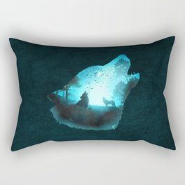 Blue Wolf Rectangular Pillow