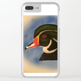 Wood Duck Drake Head Profile Clear iPhone Case