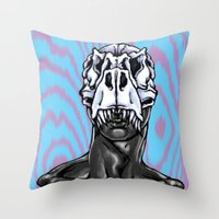 trex Throw Pillows featuring TREX: MALE by Marques Cannon