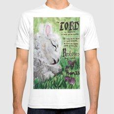 The Lord Restores Psalm 23 MEDIUM Mens Fitted Tee White