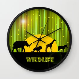 Africa Animals In The Magic Forest Wall Clock
