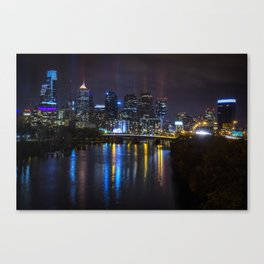 Philly Skyline Glowing Canvas Print
