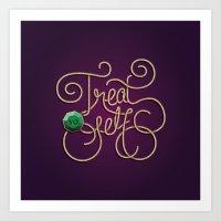 treat yo self Art Prints featuring Treat Yo Self by Nana Adwoa Sey