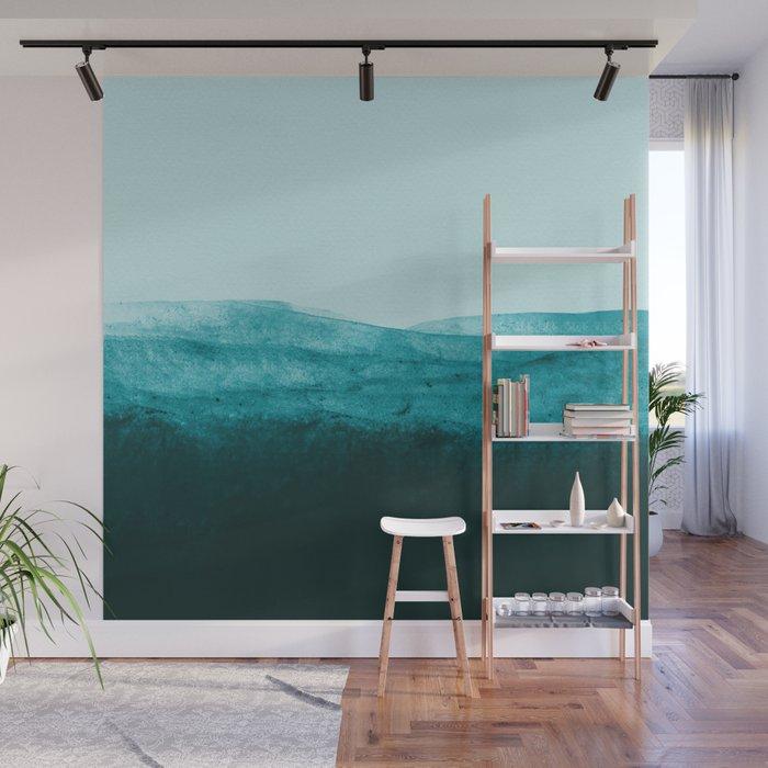Aqua Watercolor Tide Wall Mural