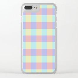 Plaid Blue Soft Yellow Rose Blush Lavender Cyan Tetradic Colour Blocks Clear iPhone Case
