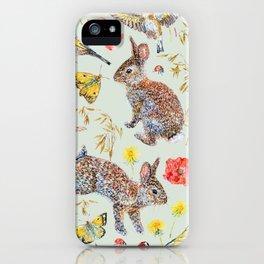 Bunny Meadow Pattern - Green iPhone Case