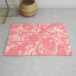 Pink swirls. Vector floral deisgn Rug