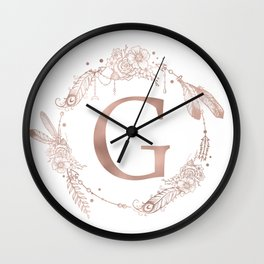 Letter G Rose Gold Pink Initial Monogram Wall Clock