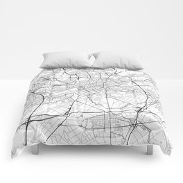Frankfurt Map White Comforters