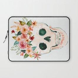 PRETTY OUTLAW Flower Crown Skull Laptop Sleeve