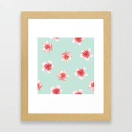 Pink Cherry Blossoms On Pastel Robin's Egg Blue Continuos Pattern Framed Art Print