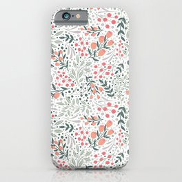 Woodland Floral Pattern - Green and Coral iPhone Case